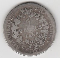 5 FRANCS L'AN 6  Q    EN ARGENT  - 024 - 1789-1795 Periode Franse Revolutie