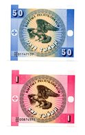 Kirghistan Lot De 2 Billets : 50 Tyins + 1 Tyin Aigle Eagle NEUFS - Kirgisistan