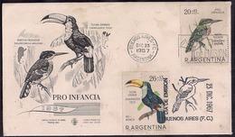 Argentina - 1967 - FDC - Grand Toucan - Martin-pêcheur - Big Toucan - Kingfisher - Oiseaux