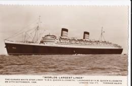 AO02 Shipping - Cunard White Star Liner R.M.S. Queen Elizabeth - RPPC - Steamers