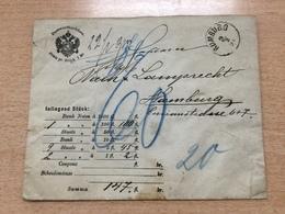 K8 Österreich 1891 Wertbrief Mit Nachporto Von Rumburg Nach Hamburg - 1850-1918 Imperium