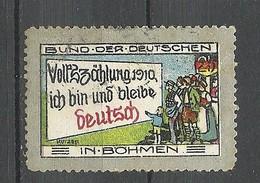 Deutschland 1910 Reklamemarke Propagandamarke Volkszählung In Böhmen * - Vignetten (Erinnophilie)