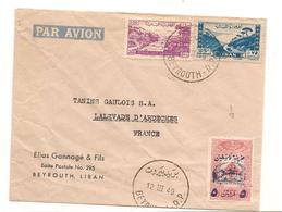 LIBAN 1949 ENVELOPPE DE BEYROUTH VIA LALEVADE D'ARDÈCHE - Liban