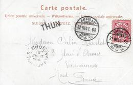 """KARTE MIT BALKENSTEMPEL → """"THUN"""" Anno 1901 - Postmark Collection"""