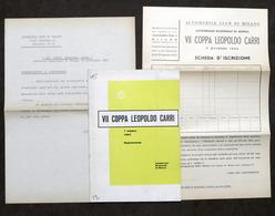 Automobilismo - VII Coppa Leopoldo Carri - Autodromo Di Monza 1962 - Regolamento - Altri
