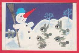 245329 / Bulgaria Art L. CHAKALOV - WINTER SNOWMAN AND Rabbit Lapin Kaninchen - New Year - Bulgarie Bulgarien - New Year