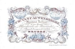 509/29 -- BRUGES CARTE PORCELAINE - Carte Illustrée Marchand Tailleur Van Cauwenberghe - Litho Années 1840/50 - Cartes De Visite