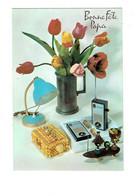 Cpm Bonne Fête Papa Fleurs Tulipes étain Talkie Walkie MELSON Radio Boîte Coquillage Lampe Planche Skate - Auguri - Feste