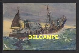 DF / BATEAUX DE PÊCHE / UN CHALUTIER DE GRANDE PÊCHE RAMENANT SON CHALUT / DESSIN DE A. SEBILLE - Pêche