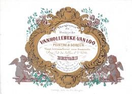 514/29 -- BRUGES CARTE PORCELAINE - Carte Illustrée Peintre Et Doreur Van Hollebeke - Litho Années 1840/50 - Cartes De Visite