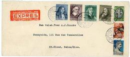 PAYS BAS ENV 1937 GRAVENHAGE N° 292 / 298 LETTRE EXPRES AVEC ETIQUETTE => FRANCE   VOIR LES SCANS - 1891-1948 (Wilhelmine)