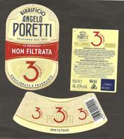 ITALIA - Etichetta Birra Beer Bière ANGELO PORETTI 3 Luppoli Non Filtrata - Birra