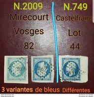FRANCE 3 Timbres Napoléon III 14A 2 Timbres De Mirecourt Et 1 De Castelfranc - 1853-1860 Napoleon III
