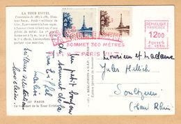 CPA Paris, La Tour Eiffel, Sommet 300 Metres, Gel. 1950 - Eiffelturm