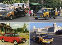 LADA VAZ 2101 TAXI   -  Lot De 4 Voitures/Automobiles  -  4 X Cartes Postales Modern - 4xCPM - Taxi & Carrozzelle