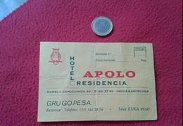 SPAIN TARJETA DE VISITA VISIT CARD ADVERTISING HOTEL RESIDENCIA APOLO BARCELONA OWL HIBOU GUFO BUHO LECHUZA EULE.....VER - Tarjetas De Visita