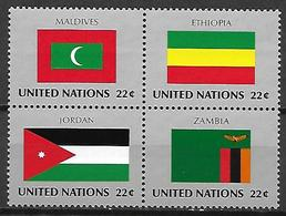 NATIONS - UNIES    -    1986 .  Y&T N° 471 à 474 **.   Drapeaux - Neufs