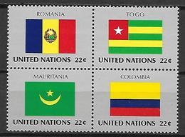 NATIONS - UNIES    -    1986 .  Y&T N° 479 à 482 **.   Drapeaux - Neufs