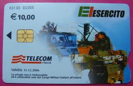Serie 00103=03, Italian Army In Kosovo Chip Phone CARD 10 Euro Used Operator TELECOM ITALIA *Tank, Soldiers, Satellite* - Kosovo
