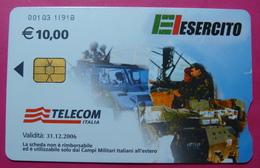 Serie 00103-11, Italian Army In Kosovo Chip Phone CARD 10 Euro Used Operator TELECOM ITALIA *Tank, Soldiers, Satellite* - Kosovo