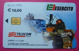 Serie 00103-27, Italian Army In Kosovo Chip Phone CARD 10 Euro Used Operator TELECOM ITALIA *Tank, Soldiers, Satellite* - Kosovo
