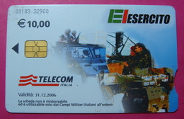Serie 00103-32, Italian Army In Kosovo Chip Phone CARD 10 Euro Used Operator TELECOM ITALIA *Tank, Soldiers, Satellite* - Kosovo
