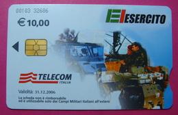 Serie 00103-326, Italian Army In Kosovo Chip Phone CARD 10 Euro Used Operator TELECOM ITALIA *Tank, Soldiers, Satellite* - Kosovo