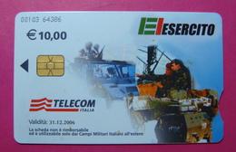 Serie 00103-64, Italian Army In Kosovo Chip Phone CARD 10 Euro Used Operator TELECOM ITALIA *Tank, Soldiers, Satellite* - Kosovo