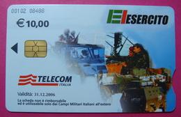 Serie 00102-08, Italian Army In Kosovo Chip Phone CARD 10 Euro Used Operator TELECOM ITALIA *Tank, Soldiers, Satellite* - Kosovo