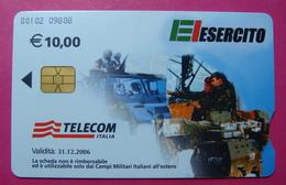 Serie 00102-09, Italian Army In Kosovo Chip Phone CARD 10 Euro Used Operator TELECOM ITALIA *Tank, Soldiers, Satellite* - Kosovo