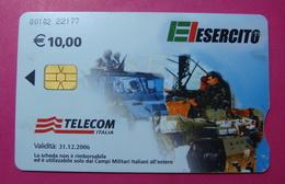 Serie 00102-22, Italian Army In Kosovo Chip Phone CARD 10 Euro Used Operator TELECOM ITALIA *Tank, Soldiers, Satellite* - Kosovo