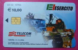Serie 00102-48, Italian Army In Kosovo Chip Phone CARD 10 Euro Used Operator TELECOM ITALIA *Tank, Soldiers, Satellite* - Kosovo