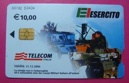 Serie 00102-50, Italian Army In Kosovo Chip Phone CARD 10 Euro Used Operator TELECOM ITALIA *Tank, Soldiers, Satellite* - Kosovo