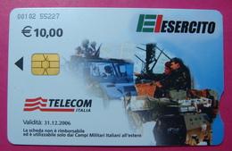 Serie 00102-55, Italian Army In Kosovo Chip Phone CARD 10 Euro Used Operator TELECOM ITALIA *Tank, Soldiers, Satellite* - Kosovo