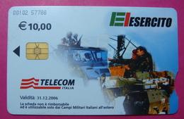 Serie 00102-57, Italian Army In Kosovo Chip Phone CARD 10 Euro Used Operator TELECOM ITALIA *Tank, Soldiers, Satellite* - Kosovo