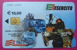 Serie 00084-63, Italian Army In Kosovo Chip Phone CARD 10 Euro Used Operator TELECOM ITALIA *Tank, Soldiers, Satellite* - Kosovo