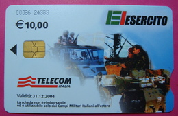 Serie 00086-24, Italian Army In Kosovo Chip Phone CARD 10 Euro Used Operator TELECOM ITALIA *Tank, Soldiers, Satellite* - Kosovo