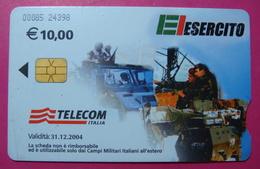 Serie 00085-24, Italian Army In Kosovo Chip Phone CARD 10 Euro Used Operator TELECOM ITALIA *Tank, Soldiers, Satellite* - Kosovo