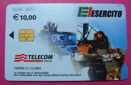 Serie 00085-26, Italian Army In Kosovo Chip Phone CARD 10 Euro Used Operator TELECOM ITALIA *Tank, Soldiers, Satellite* - Kosovo