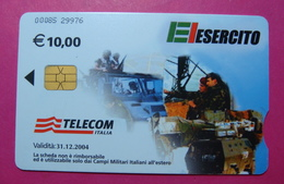 Serie 00085-29, Italian Army In Kosovo Chip Phone CARD 10 Euro Used Operator TELECOM ITALIA *Tank, Soldiers, Satellite* - Kosovo