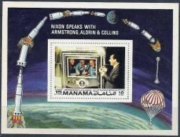 1971 Ajman MANAMA  Michel BF 172** Espace, Premier Homme Sur La Lune, Parachute - Manama