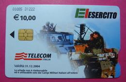 Serie 00085-31, Italian Army In Kosovo Chip Phone CARD 10 Euro Used Operator TELECOM ITALIA *Tank, Soldiers, Satellite* - Kosovo