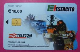 Serie 00085-54, Italian Army In Kosovo Chip Phone CARD 10 Euro Used Operator TELECOM ITALIA *Tank, Soldiers, Satellite* - Kosovo