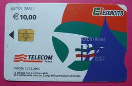 Serie 00098-38, Italian Army In Kosovo Chip Phone CARD 10 Euro Used Operator TELECOM ITALIA *RADIO WEST* - Kosovo