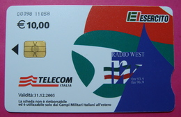 Serie 00098-11, Italian Army In Kosovo Chip Phone CARD 10 Euro Used Operator TELECOM ITALIA *RADIO WEST* - Kosovo