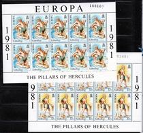 1981 Gibilterra Gibraltar EUROPA CEPT EUROPE 10 Serie Di 2v. MNH** In Minifoglio 2 Minisheets - 1981