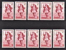 FRANCE 1953 - LOT 10 TP /  Y.T. N° 943 - NEUFS** - France
