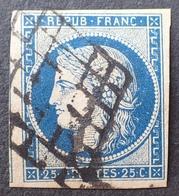 R1568/35 - CERES N°4a Bleu Foncé - GRILLE NOIRE - 1849-1850 Cérès