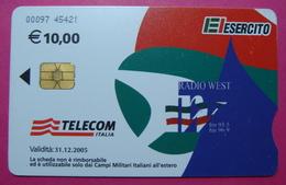 Serie 00097-45, Italian Army In Kosovo Chip Phone CARD 10 Euro Used Operator TELECOM ITALIA *RADIO WEST* - Kosovo