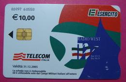 Serie 00097-60, Italian Army In Kosovo Chip Phone CARD 10 Euro Used Operator TELECOM ITALIA *RADIO WEST* - Kosovo